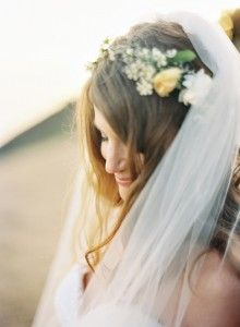bridal flower crown...placement looks good with veil..and i like small flowers / buds with 1 or 2 medium sized flowers...