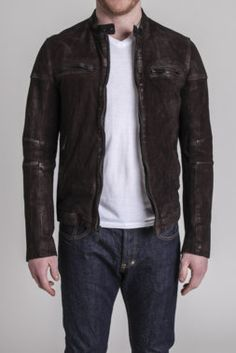 $299 Washed Suede Moto Jacket