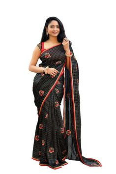 Sweetiepie Fashion Women's chanderi chex with Embrodery multy work saree (SF-BLACK-BEAUTY, Black) Work Sarees, Cool Outfits, Sari, Womens Fashion, Delivery, Free Shipping, Beauty, Black, Dresses