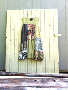 plus size sage green upcycled summer clothing tunic Dress / ladie women's / Patchwork Dress / Eco Dress / Artsy Dress by CreoleSha by CreoleSha on Etsy Rustic Outfits, Chic Outfits, Summer Outfits, Diy Clothing, Summer Clothing, Romantic Outfit, Patchwork Dress, Plus Size Outfits, Clothes For Women