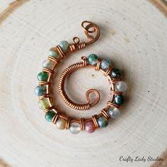 Copper swirl pendant with fancy green jasper