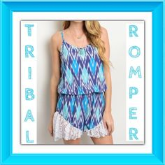 "Fun & Flirty Lacey Tribal Jumpsuit Romper S M This seasons hottest trend is a fun & flirty romper. This contrast blue tribal romper is absolutely perfect in every way. Spaghetti straps - lace trim at bottom - blouse over elastic waist is forgiving and flattering - soft lined polyester - Model wearing Small True to size  S/M M/L L/Xl - length 31"" 💙💙💙💙💙💙💙💙💙💙💙💙💙💙💙 Styleback Pants Jumpsuits & Rompers"