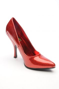 Bombshell Heel in Red Pearlized Glitter