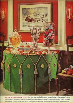 Crafty felt covered festive drum table From The American Home, December 1962