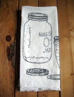 Screen Printed Organic Cotton Mason Jar Flour Sack Towel - Perfect Tea Towel for Dishes. $8.00, via Etsy.