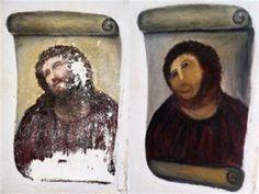 Madrid (Spagna), 23 ago. (LaPresse/AP) - Le buone intenzioni non le mancavano, le competenze pittoriche decisamente sì. Un'anziana devota spagnola ha deciso di restaurare un affresco che ritraeva il volto di Gesù, che ne è però uscito sfigurato e simile a una scimmia. Il dipinto di Elias Garcia Martinez