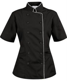 Women's Tailored Short Sleeve Chef Coat with Piping Staff Uniforms, Work Uniforms, Chef Dress, Hotel Uniform, Restaurant Uniforms, Tailored Shorts, Uniform Design, Chef Coats, Business Attire