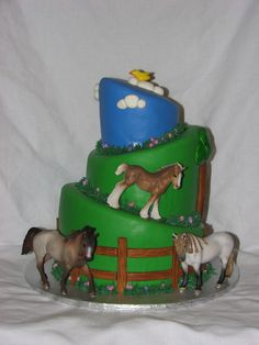 birthday cake for horses recipe   girl wanted a topsy turvy cake with green and blue colors, with horses ...