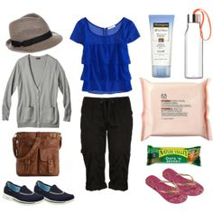 What I would wear to Disneyland, Universal Studios, or just general day trips and tourist attractions. Loose fitting 3/4 pants with an elasticated waist and roll up cuffs, cute flowy top with short sleeves. comfortable shoes like sketchers gowalks, thongs (flip flops) to leave in my bag incase feet need a break. Crushable hat. Light Cardigan. Crossover medium sized bag that can fit sunscreen, water bottle, face wipes and a small snack. By mimmy-05 on Polyvore