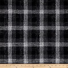 Plaza Plaid Tweed Black/Grey/White from @fabricdotcom  Stay warm in this heavyweight basketweave tweed! This fabric has a soft hand, fluid drape and is perfect for creating stylish jackets and skirts.