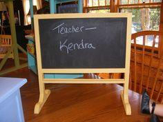 Chalkboard for 18 inch doll. $25.00, via Etsy.