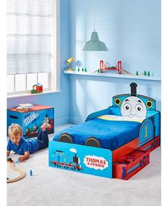 The Thomas the Tank Engine Toddler Bed will have your little man ready for bedtime with his favourite character by his side. Each night Thomas wraps his arms around your little one and protects him from bedtime tumbles. The toddler bed also comes with two handy under bed storage drawers, ideal for storing toys and clothes.