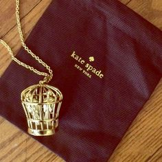 "[firm/final price] Kate Spade birdcage necklace. NWT gold birdcage necklace from kate spade. 32"" chain. Includes dust bag. Price firm unless bundled. NO trades or PayPal. kate spade Jewelry Necklaces"