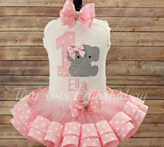Elephant Birthday Tutu Outfit  Includes Top by TinyTotsEmbroidery