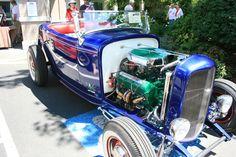 Blue roadster Olds Rocket motor