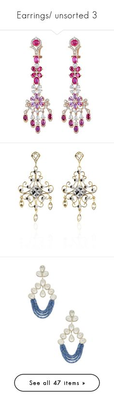 """""""Earrings/ unsorted 3"""" by thesassystewart on Polyvore featuring jewelry, earrings, chandelier earrings, pink, pink sapphire jewelry, pink sapphire earrings, ruby charm, pink earrings, pink diamond earrings and yellow gold"""