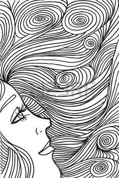 Croquis abstrait de la femme face illustration.
