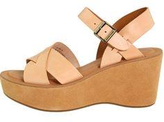 New Kork-Ease Ava Sandals Size 7 M Beige Platform Wedge Leather