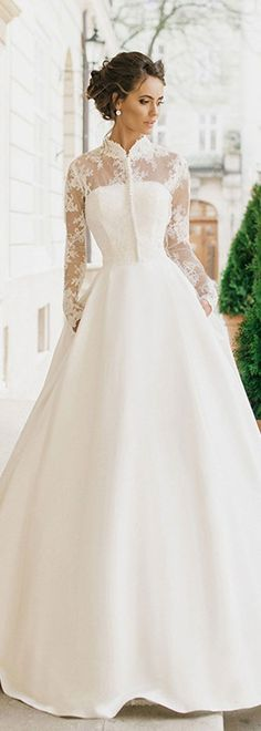 Stunning High Collar Wedding Dress with Lace Overlay and Long ...