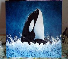 """Fast fertig mit diesem 24 """"x Orca, und dann geht es darum, den richtigen Namen zu finden …, … Nearly finished this x Orca, and then it's on to finding the right name … - Sealife Painting Inspiration, Art Inspo, Whale Painting, Ocean Art, Painting For Kids, Rock Art, Watercolor Paintings, Art Drawings, Canvas Art"""