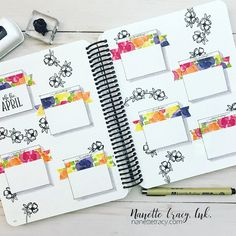 April Layout with stamps & inks and 🌷 Bullet Journal For College, Bullet Journal Project Planning, Bullet Journal Titles, Bullet Journal Inspiration, Book Journal, Projekt Mc2, Journal Aesthetic, Happy Planner, Lettering