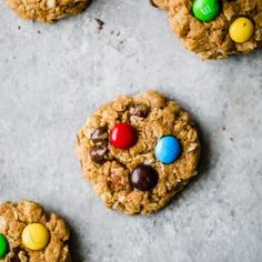 Healthy Flourless Monster Cookies are a wholesome take on a childhood classic. They're gluten free, soft and packed with peanut butter flavor!