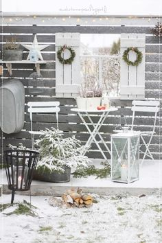 talvipuutarha, puutarhassa, lumi, terassi, talviterassi, puolukanvarpukranssi, diy