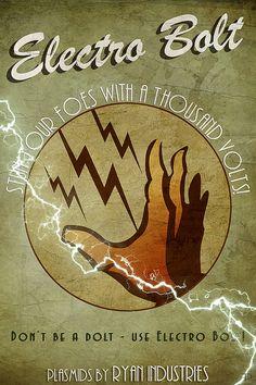 12x18 ElectroBolt  Bioshock VintageStyle Poster by FroggsPond, $10.00