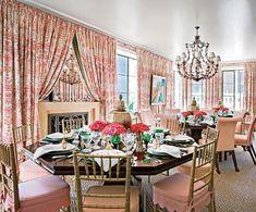 Mario Buatta: Manhattan dining room--Multiple tables make the dining room less formal. Vaughan chandelier. Stark carpet.