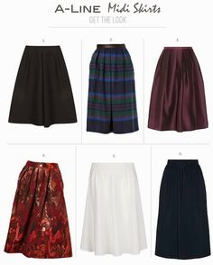 Get the look: A-Line Midi Skirts