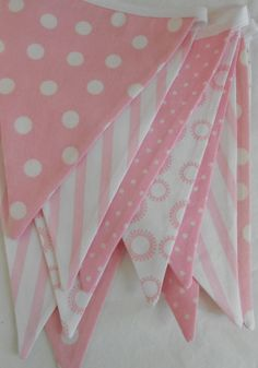 Pink and White Fabric Banner/ Baby Shower Decoration/ Photo Prop / Fabric Bunting on Etsy, $32.00