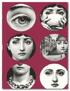 Tema E Variazioni is one of the most famous designs by Piero Fornasetti, the iconic Italian designer. This design illustrates Fornasetti's ability to draw many and various inspirations from a single motif. The muse for Tema E Variazioni was in the for Fornasetti Wallpaper, Piero Fornasetti, Images Vintage, Cole And Son, Collage Sheet, Belle Photo, Paper Art, Collage, Colors
