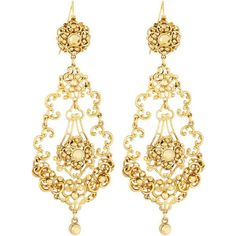 Jose & Maria Barrera Golden Filigree Crystal Teardrop Earrings (4.272.380 VND) ❤ liked on Polyvore featuring jewelry, earrings, no color, 24 karat gold earrings, 24-karat gold jewelry, golden jewelry, jose maria barrera earrings and 24k jewelry