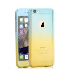 360 Degree Full Body Protection Gradient Stitching Color Phone Case for iphone 5 SE 6 6s 7 Plus Hard Cover Armor Case Glass Film