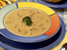 This lighter version of rich and creamy mushroom soup doesn't skimp on taste. Our Thick 'n' Creamy Mushroom Soup is a quick and easy low-fat soup that anyone can enjoy!