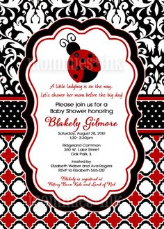 Preppy Ladybug Baby Shower Invitation  Pink or Red  by MommiesInk,