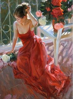 Vladimir Volegov Reverie in red and white painting for sale - Vladimir Volegov Reverie in red and white is handmade art reproduction; You can shop Vladimir Volegov Reverie in red and white painting on canvas or frame. Vladimir Volegov, Foto Art, Arte Popular, Woman Painting, Painting Art, Beautiful Paintings, Romantic Paintings, Romantic Artists, Prints For Sale