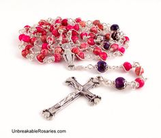 Our Lady of Grace Rosary Beads In Pink Imperial Jasper Come Visit UnbreakableRosaries.com