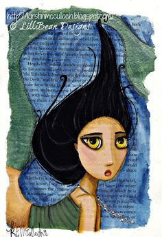 LISTENING TO THE SQUEAK INSIDE art by Kirstin McCulloch of LilliBean Designs  For Sale