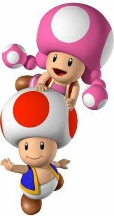 Toad and Toadette Mundo Super Mario, New Super Mario Bros, Super Mario Art, Super Mario Brothers, Super Smash Bros, Mario Kart, Mario Y Luigi, Clown Crafts, Mario Video Game