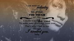 Jon Bon Jovi - Wild Is The Wind lyrics with background photos, long hair, 80's
