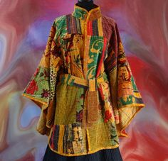 Grande cape femme en patchwork velours de coton multicolore avec ceinture : Manteau, Blouson, veste par akkacreation