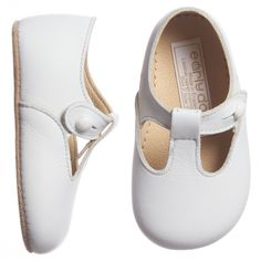 Early Days - White Leather 'Alex' Pre-Walker Shoes | Childrensalon