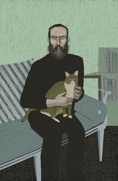Sam Kalda illustrations on Brown Paper Bag. He paints an excellent portrait of Edward Gorey! Edward Gorey, Illustrations, Illustration Art, Animal Gato, Cat Boarding, I Love Cats, Cat Art, Painting & Drawing, Cat Lovers