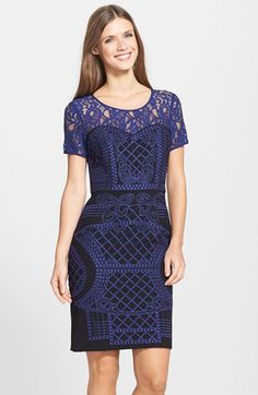 Nue by Shani Lace Yoke Embroidered Sheath Dress available at #Nordstrom