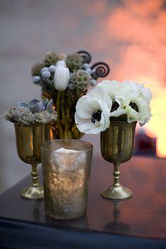 brass goblets as vases! vintage blooming poppies and other unique flower arrangements https://www.etsy.com/listing/252782511/vintage-brass-long-stemmed-goblets-wine