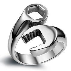 Flongo Stainless Steel Spanner Mechanic Wrench Tool Polished Men Biker Ring Band