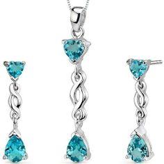 Enchanting 3.25 carats Pear Heart Shape Sterling Silver Rhodium Finish Swiss Blue Topaz Pendant Earrings Set Peora. $42.99. Save 75% Off!