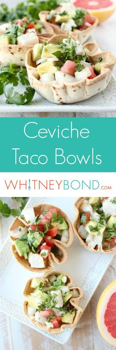 A delicious mahi mahi ceviche recipe fills these easy to make taco bowls for the perfect appetizer or Cinco De Mayo party snack! Salmon Recipes, Seafood Recipes, Mexican Food Recipes, Soup Recipes, Cooking Recipes, Healthy Recipes, Brunch Recipes, Dinner Recipes, Dinner Ideas
