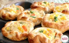 Chicken Pot Pie Puffs with #PillsburyBiscuits   only 4ingredients. 2 c. frozen mixed vegetables, 1 can cream of chicken soup, 1 lg. can chicken. 1 tube grands biscuits. 375 for 20 min. till crust is golden brown.